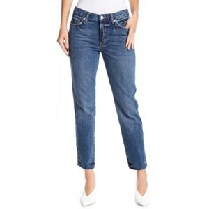 Free People Blue Slim Boyfriend Jeans Raw Hem NWT